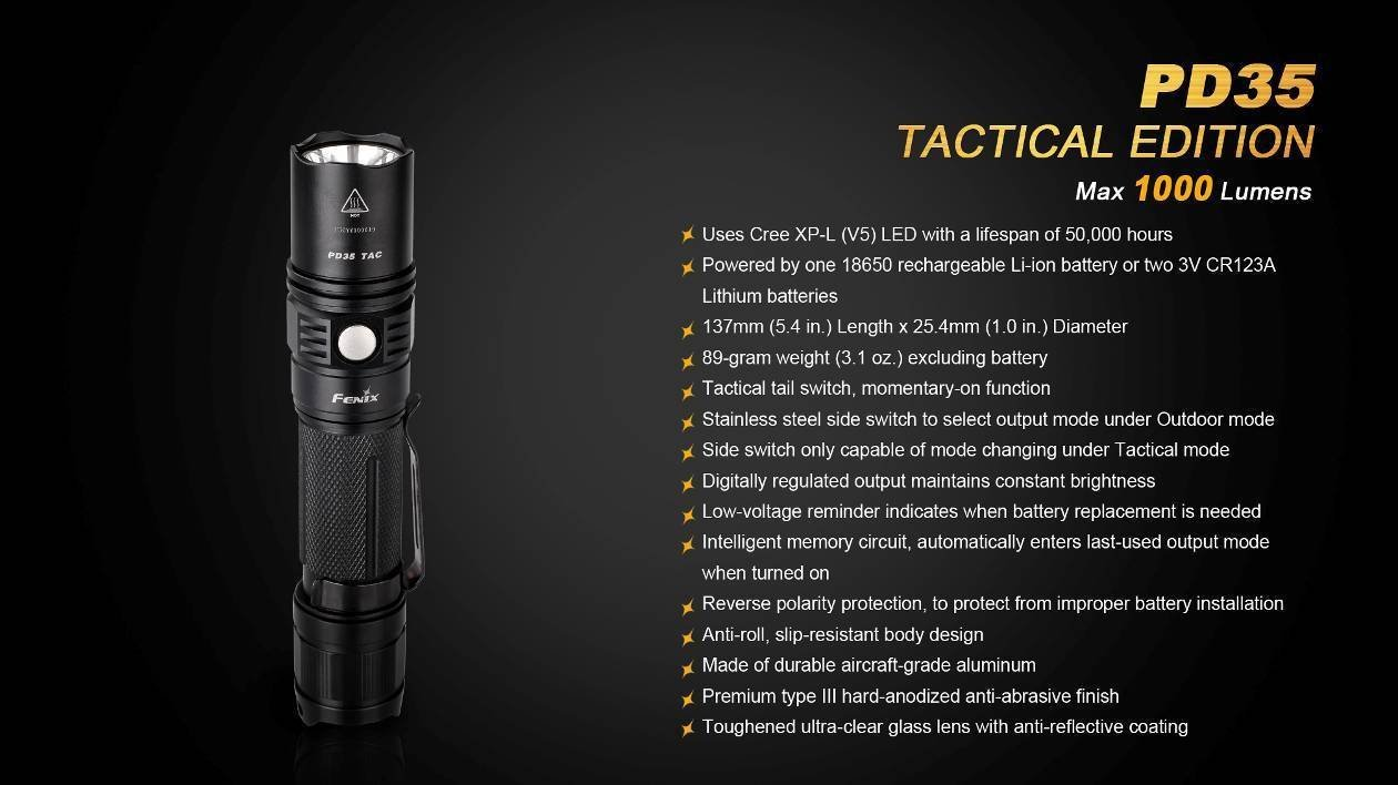 Fenix PD35 Best 1000 lumen Flashlight