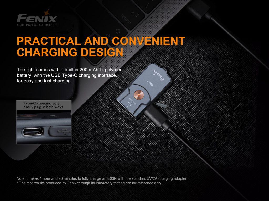 rechargeable pocket flashlight fenix e03r