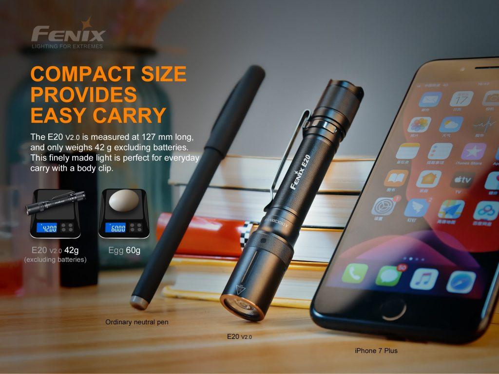 compact fenix flashlight e20 v2.0