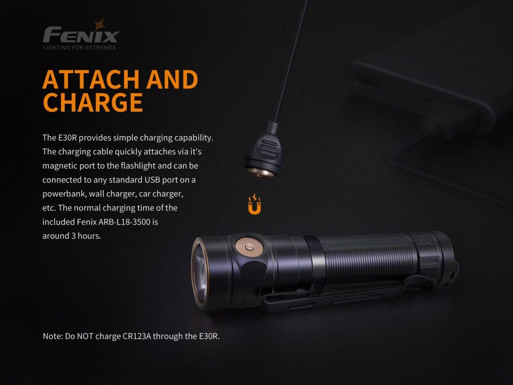 rechargeable everyday carry flashlight fenix e30r