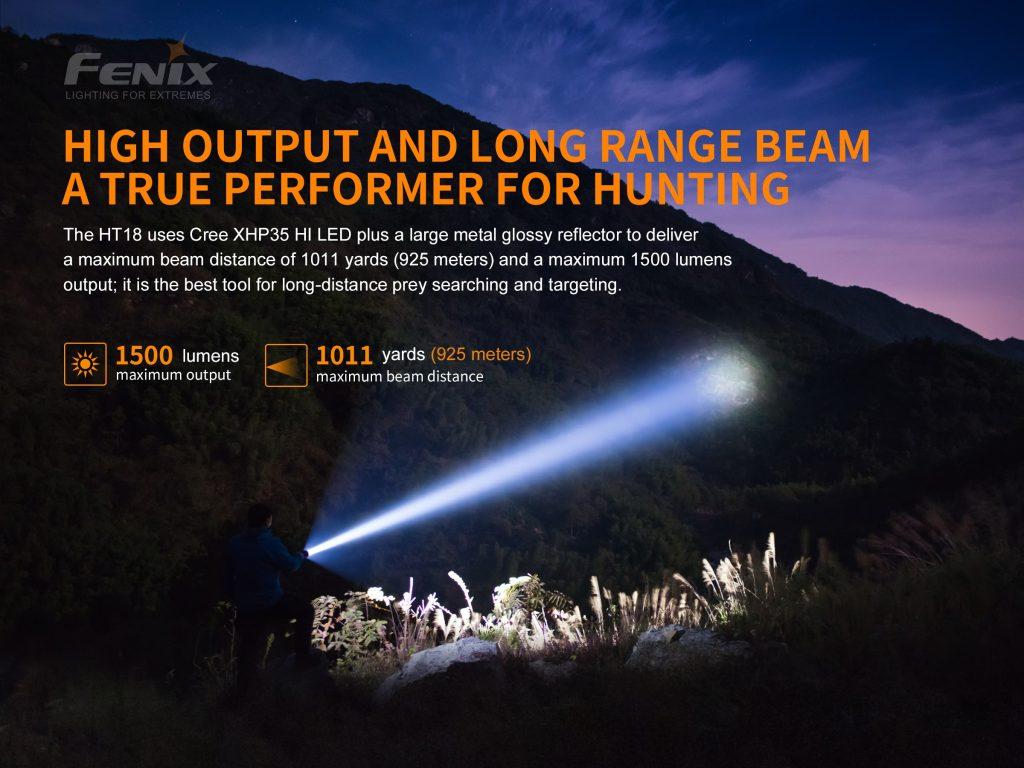1500 lumen tactical flashlight fenix ht18
