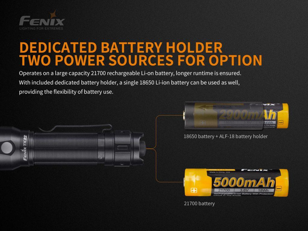 21700 flashlight fenix tk22 v2