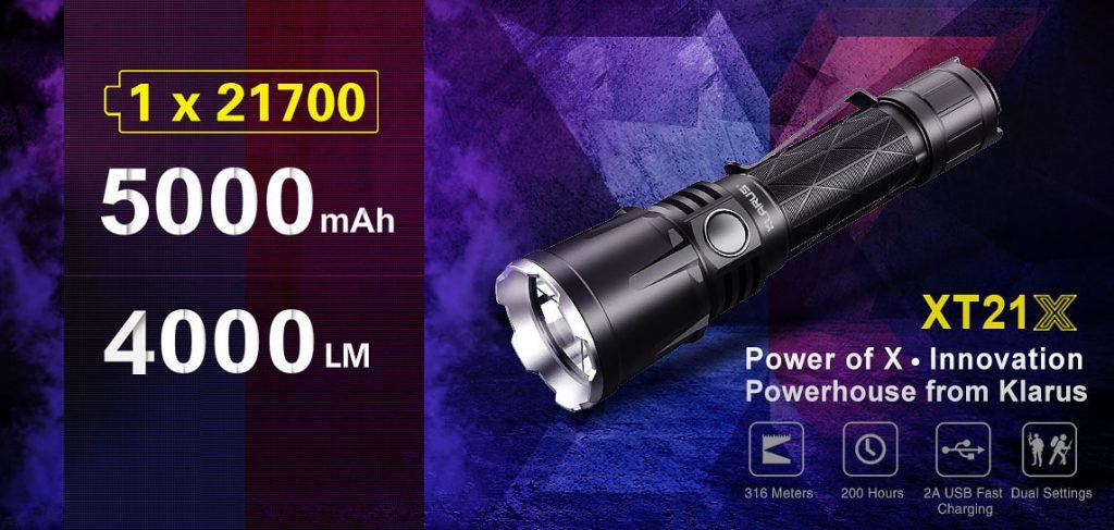klarus xt21x flashlight specs
