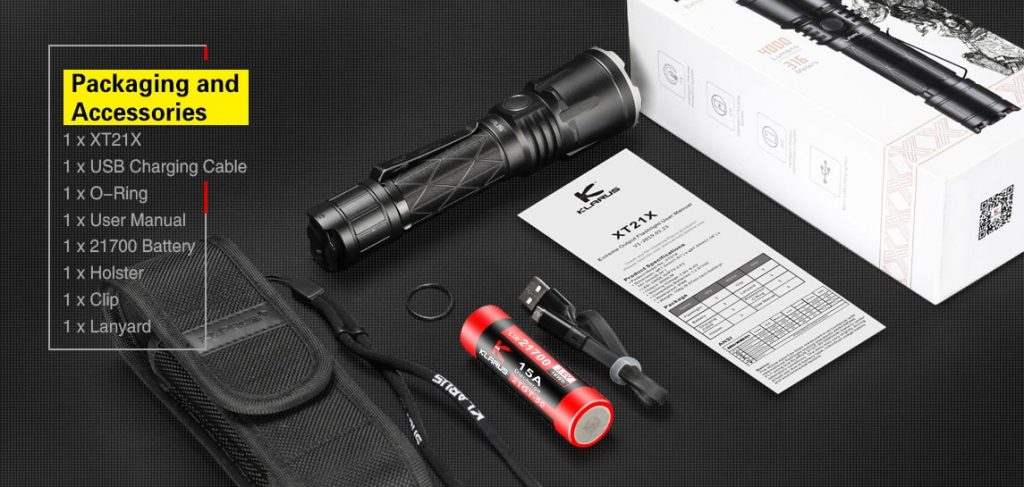 best tactical flashlight with holster klarus xt21x