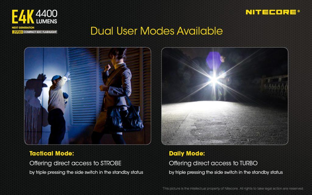 two modes on nitecore e4k flashlight