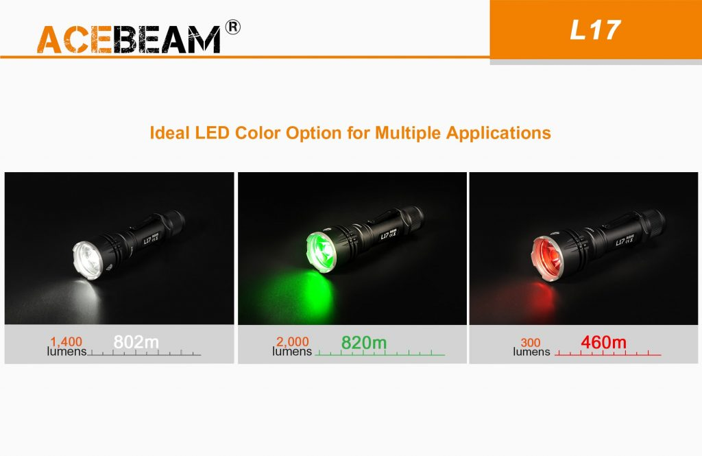 red led flashlight acebeam l17
