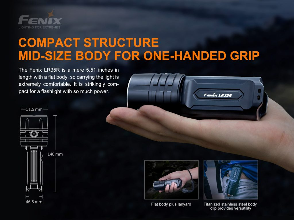 10000 lumen compact flashlight fenix lr35r