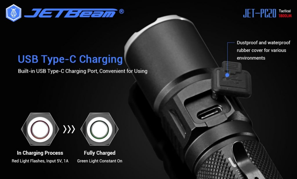 rechargeable tactical flashlight jetbeam pc20