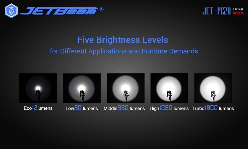 ultra powerful tactical flashlight jetbeam pc20