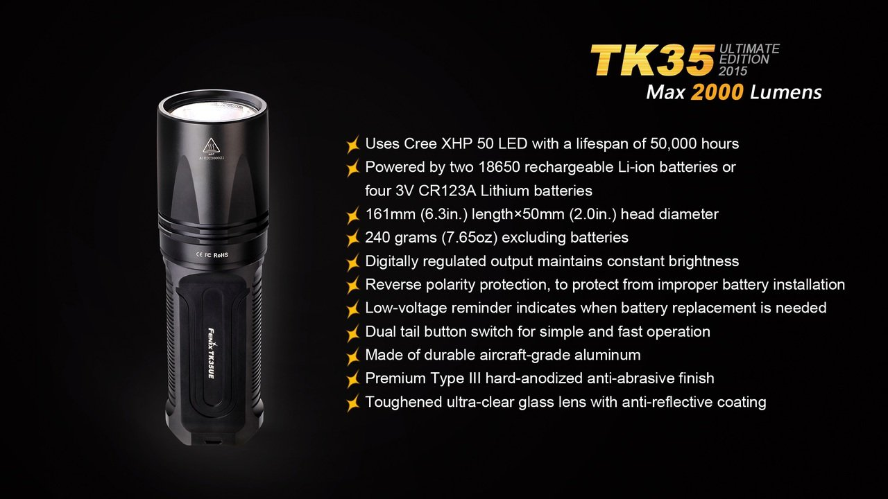 Fenix TK35 review ultimate Cree xhp led tactical flashlight 2000 Lumen 50 LED