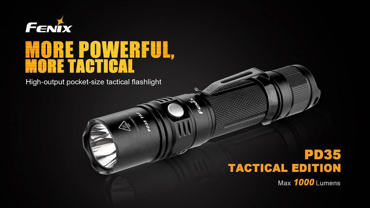 Fenix PD35 TAC Review 1000 led flashlight bundle tactical holster, lanyard, Two EdisonBright CR123A Lithium Batteries and EdisonBright battery