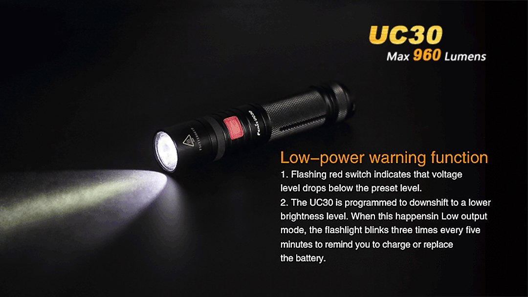 Fenix UC30 review 18650 holster rechargeable led flashlight to buy