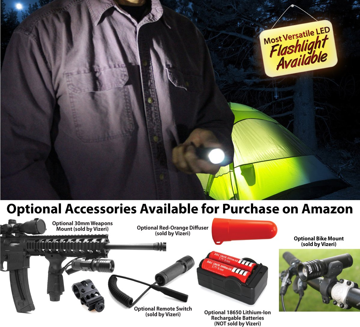 Vizeri LED Tactical Flashlight Cree XML T6 or XRE Q5, Military Quality Review : Vizeri VZ460, VZ230