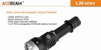 acebeam l30 gen ii led flashlight