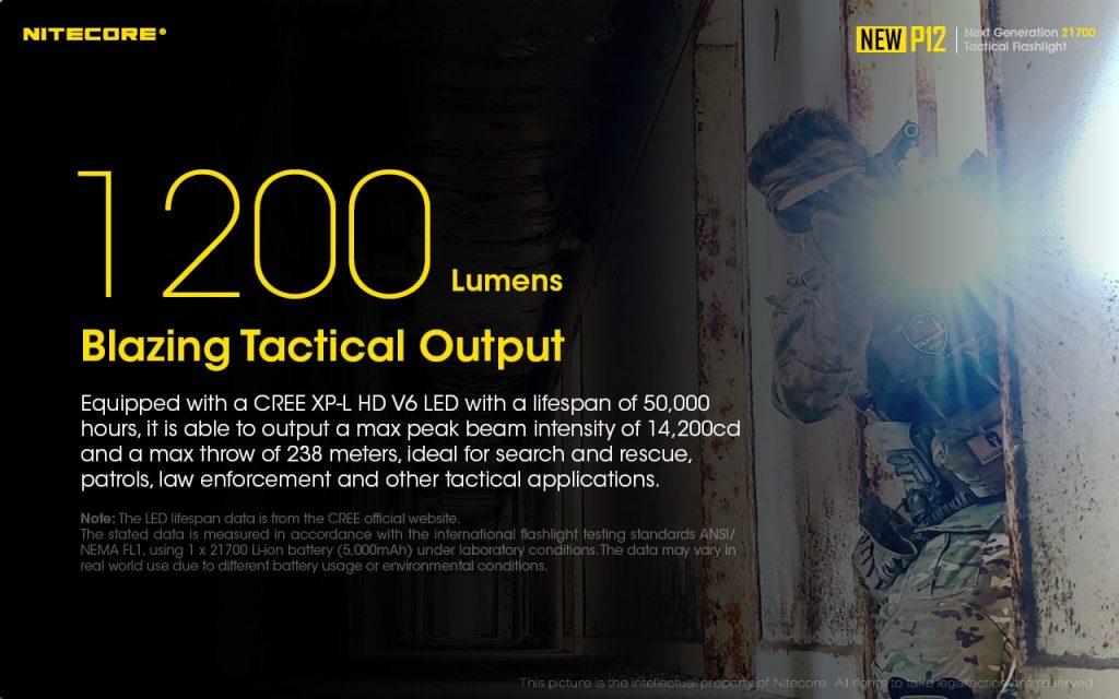 1200 lumen tactical flashlight nitecore p12
