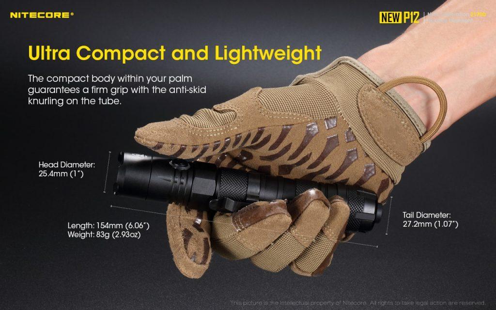 compact tactical flashlight nitecore new p12