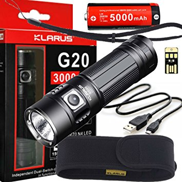 Klarus G20 best rechargeable spotlight flashlight