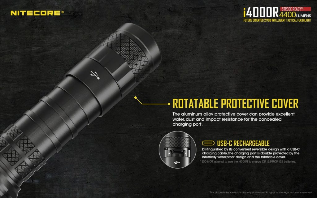 usb-c rechargeable flashlight nitecore i4000r