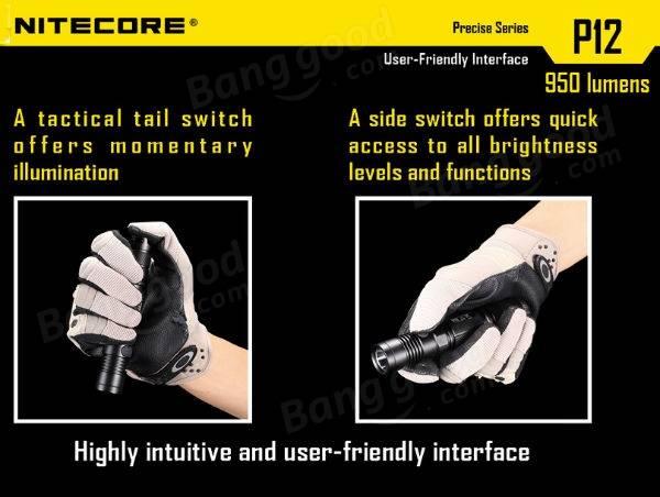 Nitecore P12 Flashlight in hand