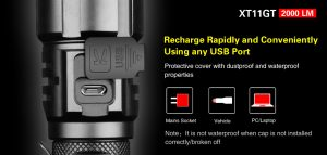USB Rechargeable LED Flashlight Klarus XT11GT